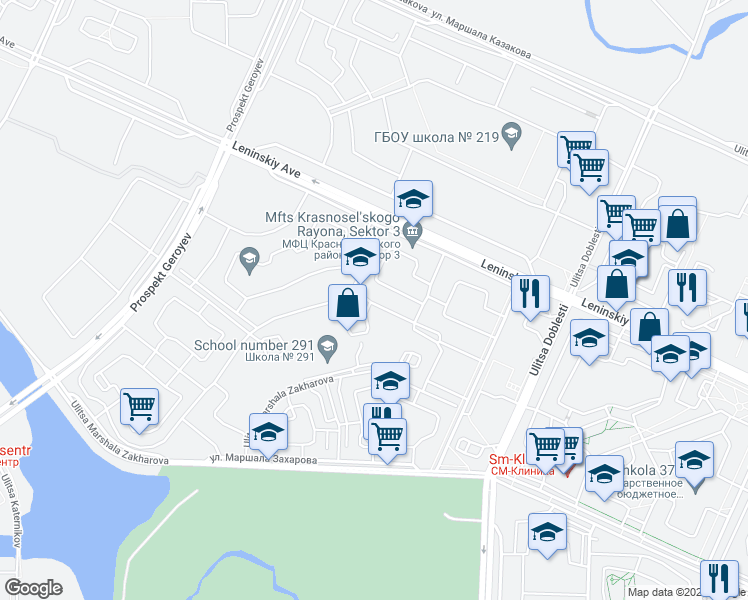 map of restaurants, bars, coffee shops, grocery stores, and more near in Sankt-Peterburg