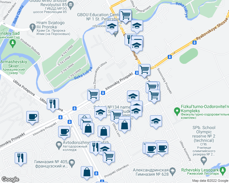 map of restaurants, bars, coffee shops, grocery stores, and more near 36 Irinovskiy prospekt in Saint Petersburg