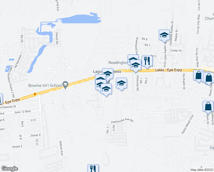 map of restaurants, bars, coffee shops, grocery stores, and more near Hi Tech Road in Lekki