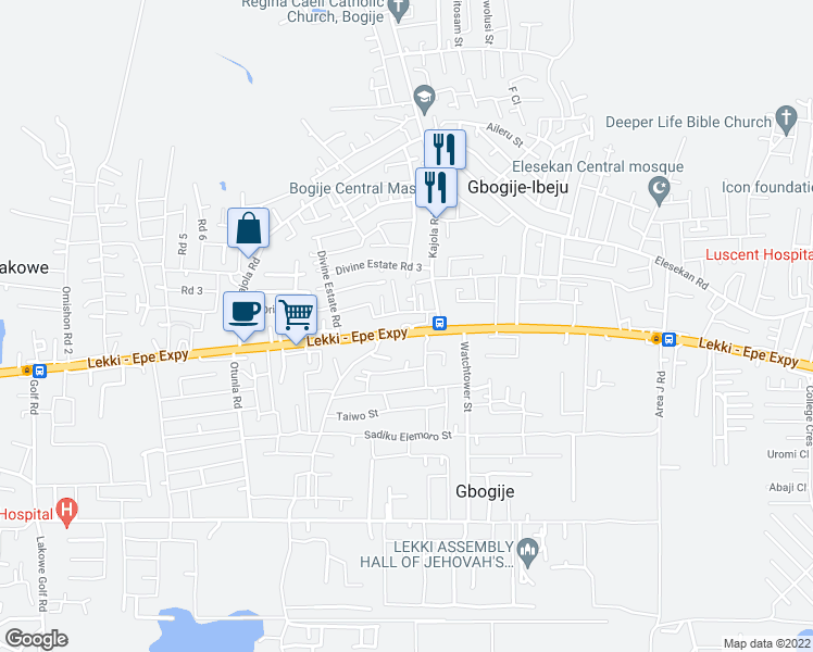 map of restaurants, bars, coffee shops, grocery stores, and more near Uche Akun's Street in Lekki