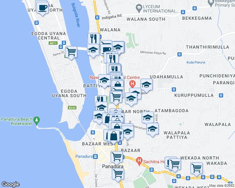 map of restaurants, bars, coffee shops, grocery stores, and more near CGHW Highway in Panadura
