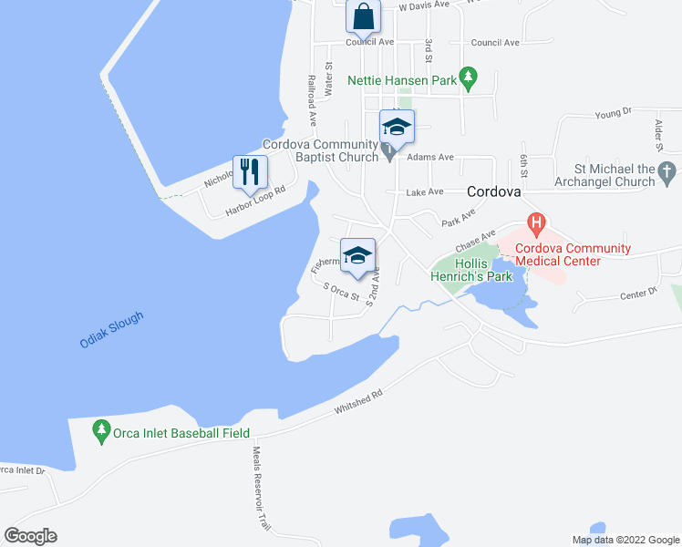 map of restaurants, bars, coffee shops, grocery stores, and more near South Orca Street in Cordova
