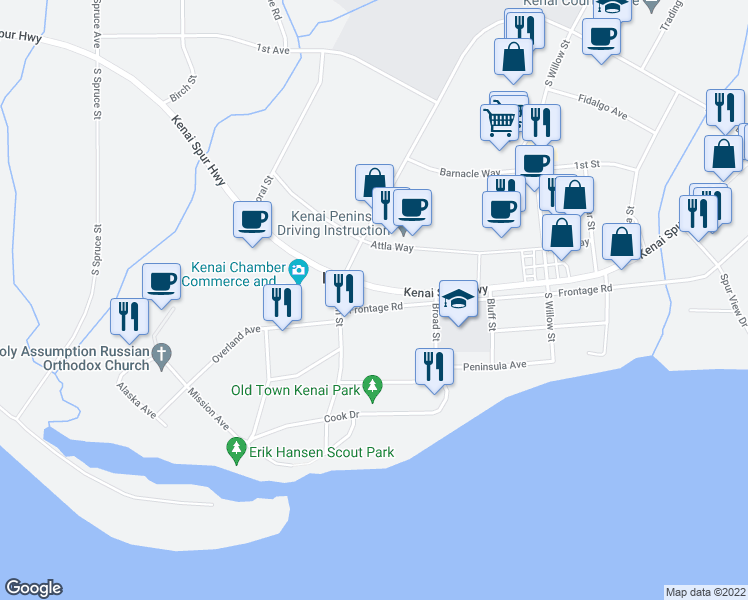 map of restaurants, bars, coffee shops, grocery stores, and more near in Kenai