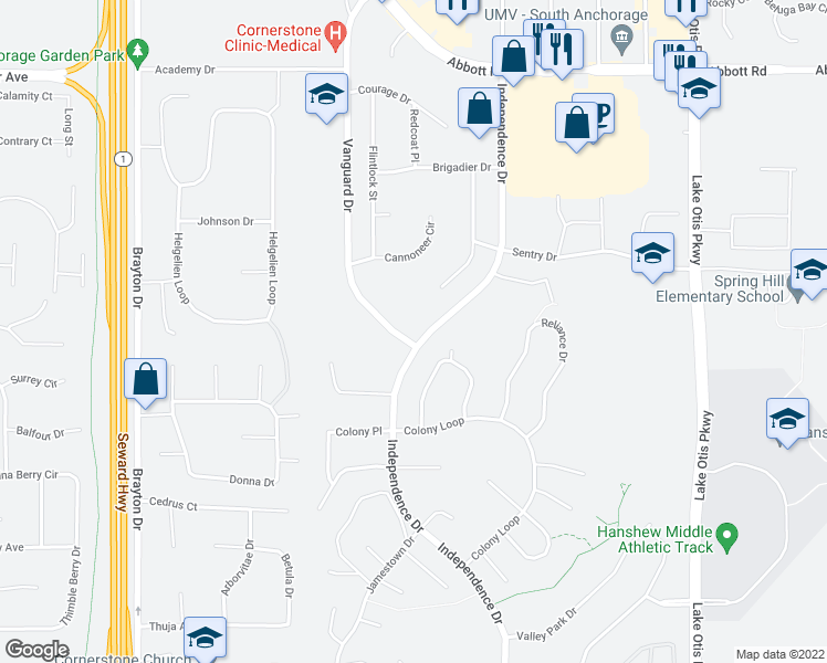 map of restaurants, bars, coffee shops, grocery stores, and more near 9731 Vanguard Drive in Anchorage