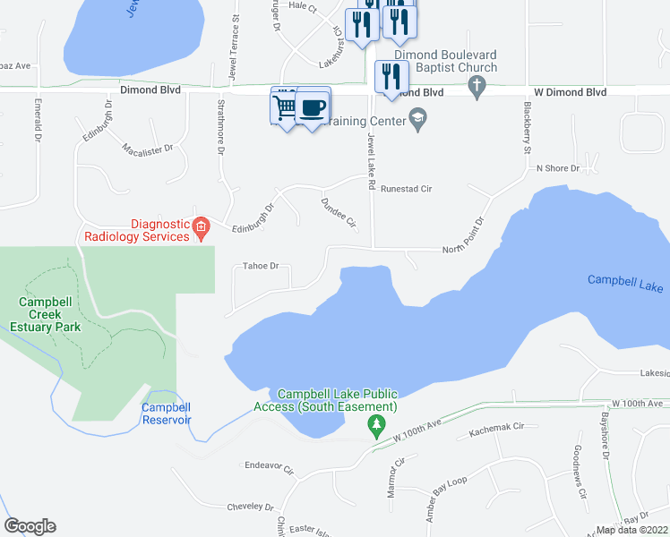 map of restaurants, bars, coffee shops, grocery stores, and more near 4008 North Point Drive in Anchorage