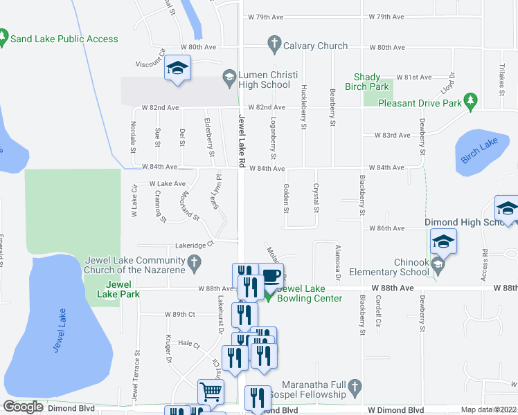 map of restaurants, bars, coffee shops, grocery stores, and more near 8515 Jewel Lake Road in Anchorage