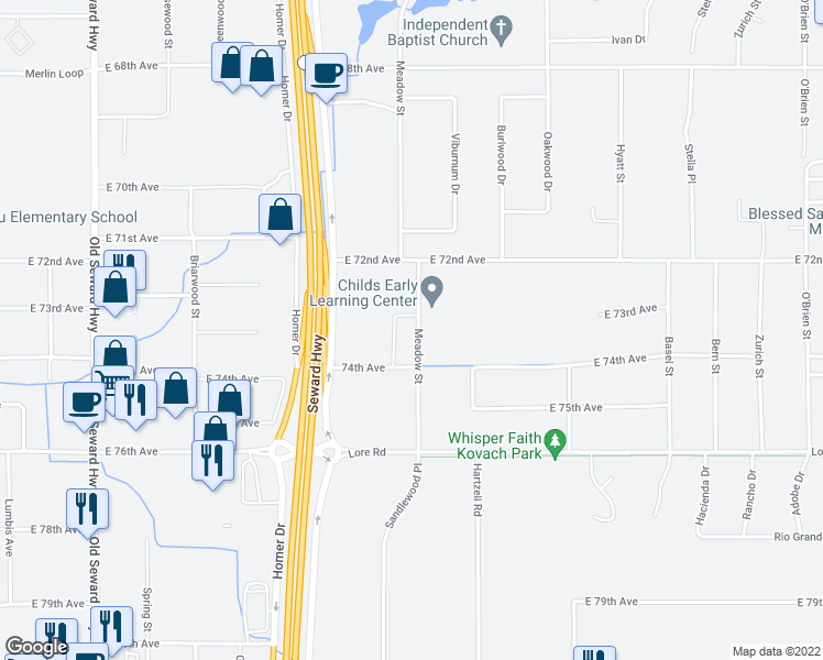map of restaurants, bars, coffee shops, grocery stores, and more near 7288 Meadow Street in Anchorage