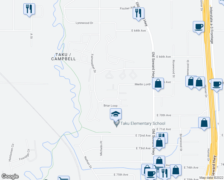 map of restaurants, bars, coffee shops, grocery stores, and more near 657 King Arthur Circle in Anchorage