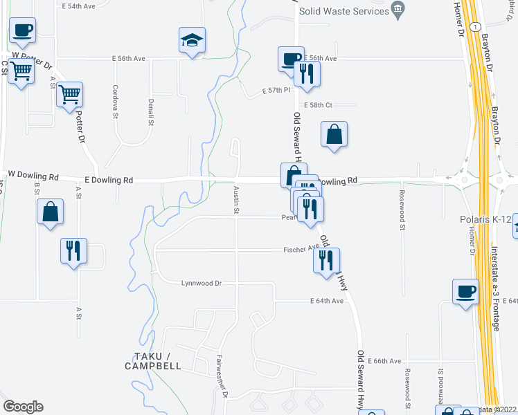 map of restaurants, bars, coffee shops, grocery stores, and more near 635 Pearl Drive in Anchorage