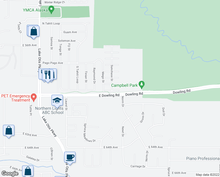 map of restaurants, bars, coffee shops, grocery stores, and more near 2955 Silver Chase Court in Anchorage