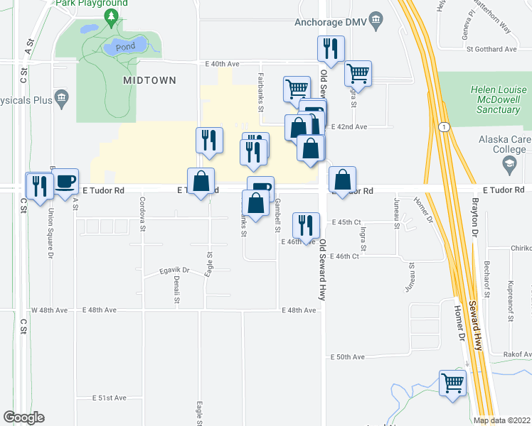 map of restaurants, bars, coffee shops, grocery stores, and more near 630 East Tudor Road in Anchorage