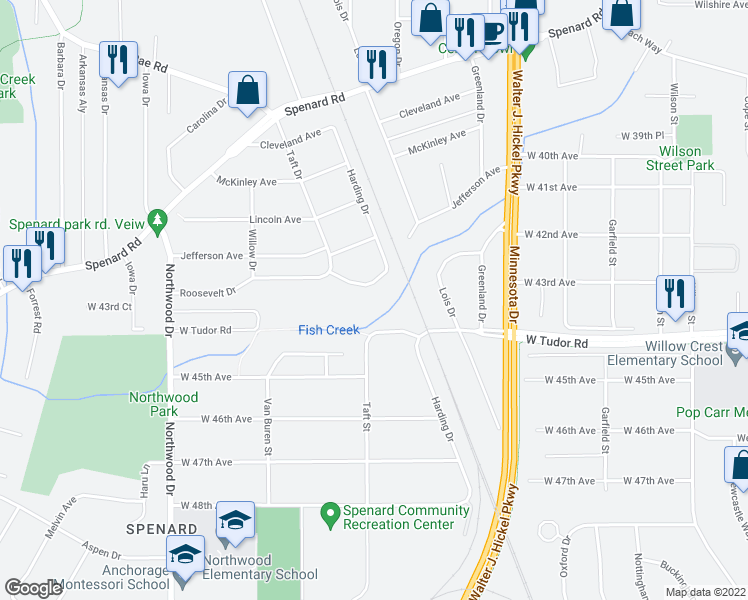 map of restaurants, bars, coffee shops, grocery stores, and more near 2104 Roosevelt Drive in Anchorage
