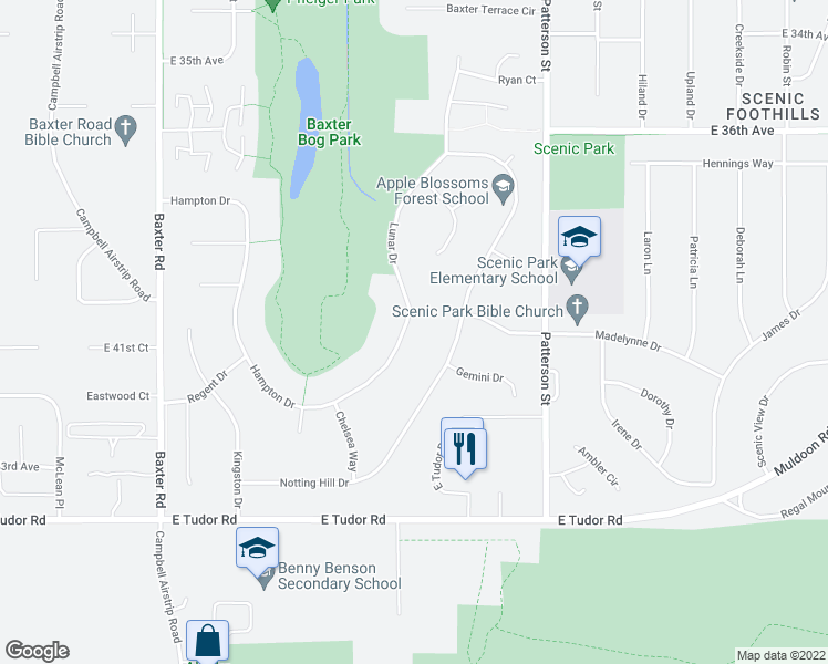 map of restaurants, bars, coffee shops, grocery stores, and more near 4021 Lunar Drive in Anchorage