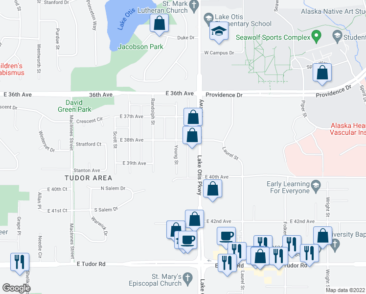 map of restaurants, bars, coffee shops, grocery stores, and more near 3735 Young Street in Anchorage
