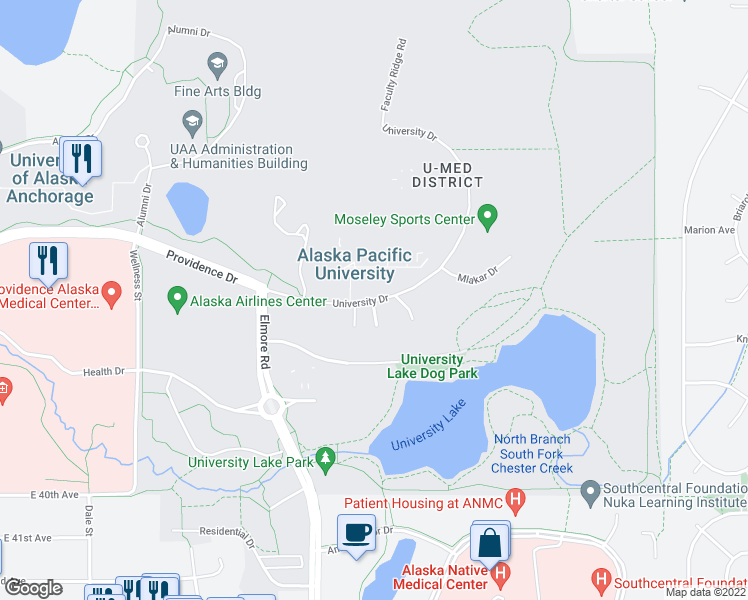 map of restaurants, bars, coffee shops, grocery stores, and more near 4101 University Drive in Anchorage