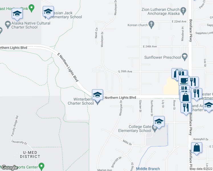 map of restaurants, bars, coffee shops, grocery stores, and more near 2624 Aspen Heights Loop in Anchorage