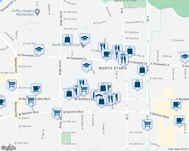 map of restaurants, bars, coffee shops, grocery stores, and more near 2508-2598 Blueberry Road in Anchorage