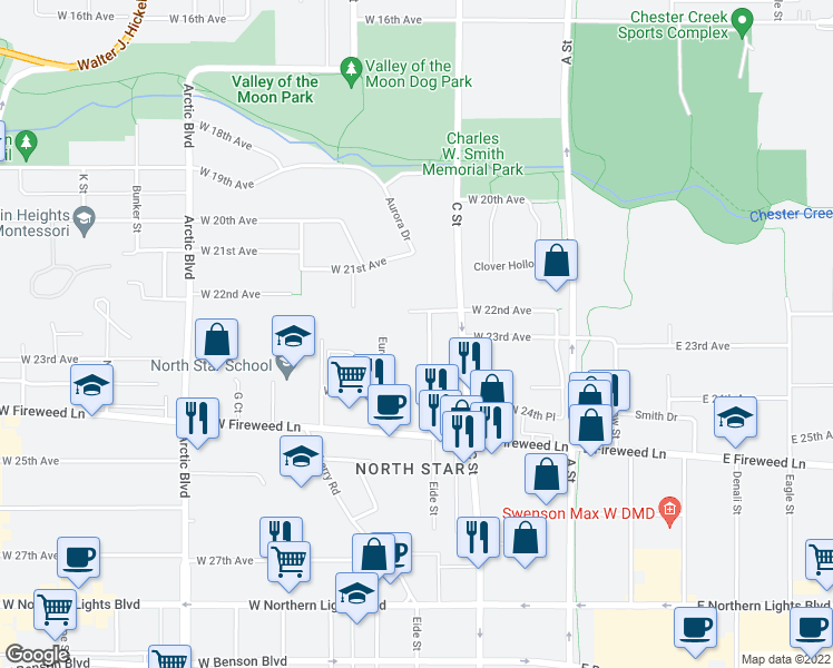 map of restaurants, bars, coffee shops, grocery stores, and more near 2210 D Street in Anchorage