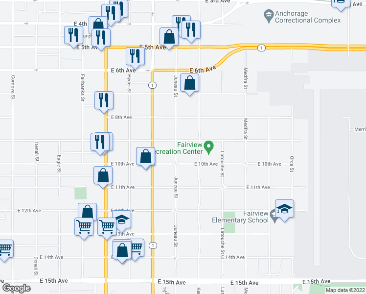 map of restaurants, bars, coffee shops, grocery stores, and more near 1008 East 9th Avenue in Anchorage