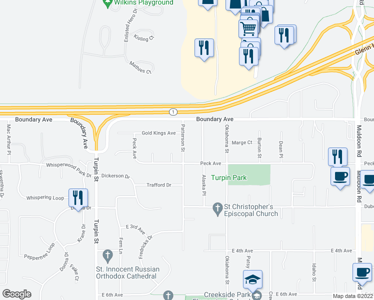 map of restaurants, bars, coffee shops, grocery stores, and more near 141 Patterson Street in Anchorage