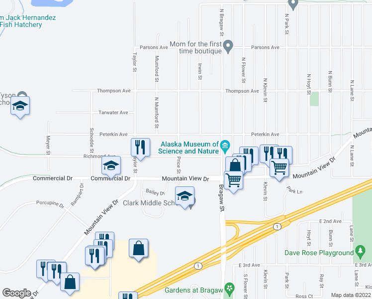 map of restaurants, bars, coffee shops, grocery stores, and more near 3701 Richmond Avenue in Anchorage