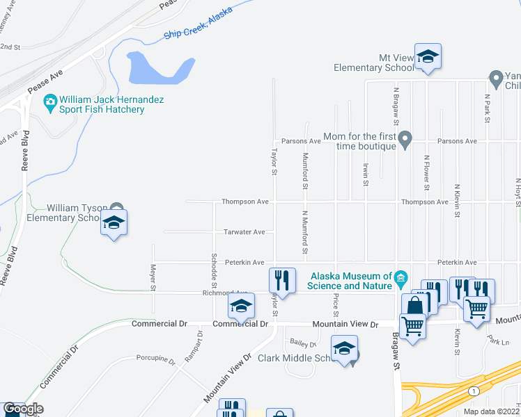 map of restaurants, bars, coffee shops, grocery stores, and more near 3424 Thompson Avenue in Anchorage