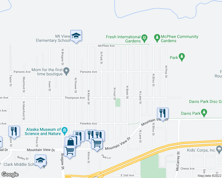 map of restaurants, bars, coffee shops, grocery stores, and more near 526 North Hoyt Street in Anchorage