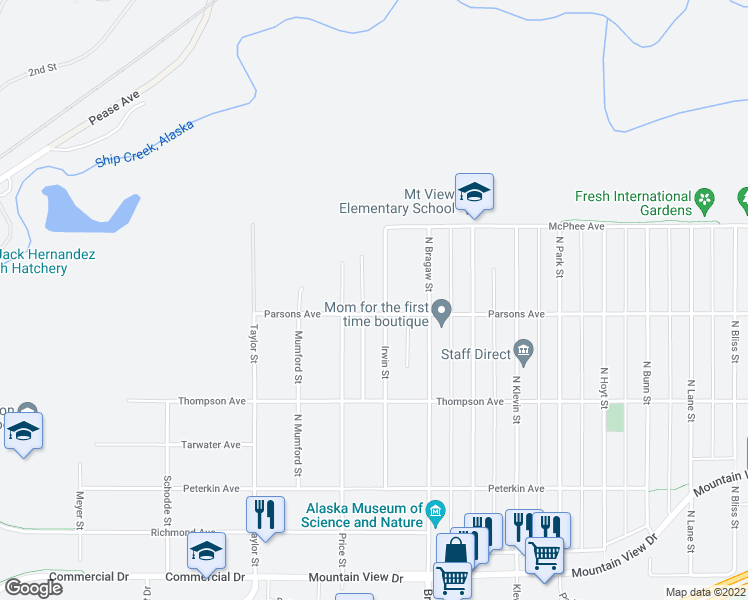 map of restaurants, bars, coffee shops, grocery stores, and more near 708 Irwin Street in Anchorage