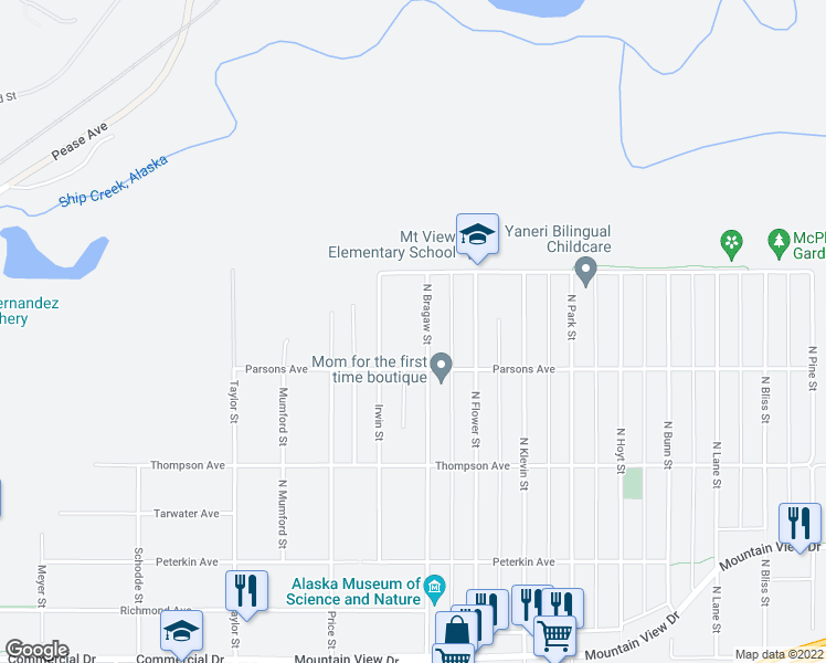 map of restaurants, bars, coffee shops, grocery stores, and more near 728 North Bragaw Street in Anchorage