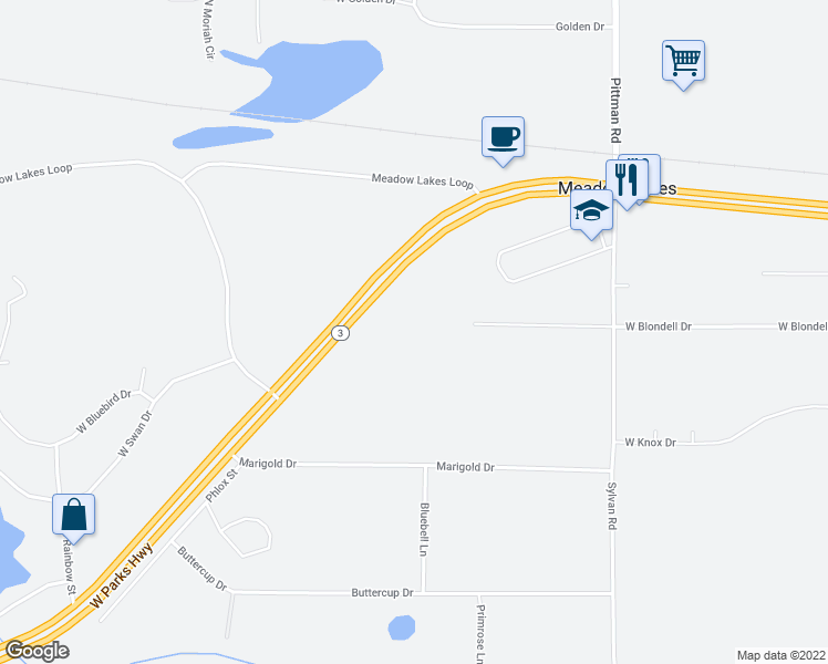 map of restaurants, bars, coffee shops, grocery stores, and more near 7570 West Parks Highway in Wasilla