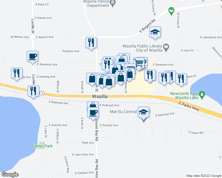 map of restaurants, bars, coffee shops, grocery stores, and more near in Wasilla