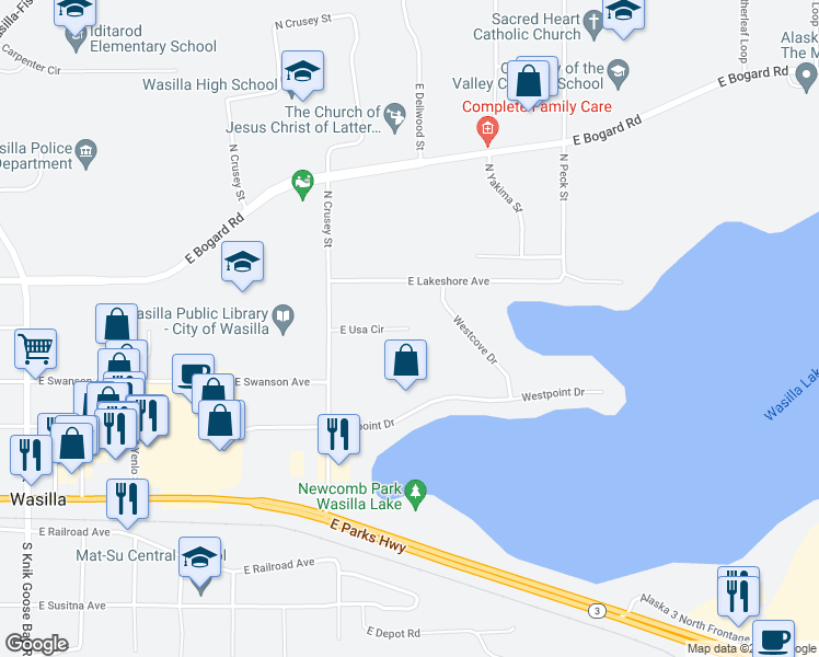 map of restaurants, bars, coffee shops, grocery stores, and more near East Usa Circle in Wasilla