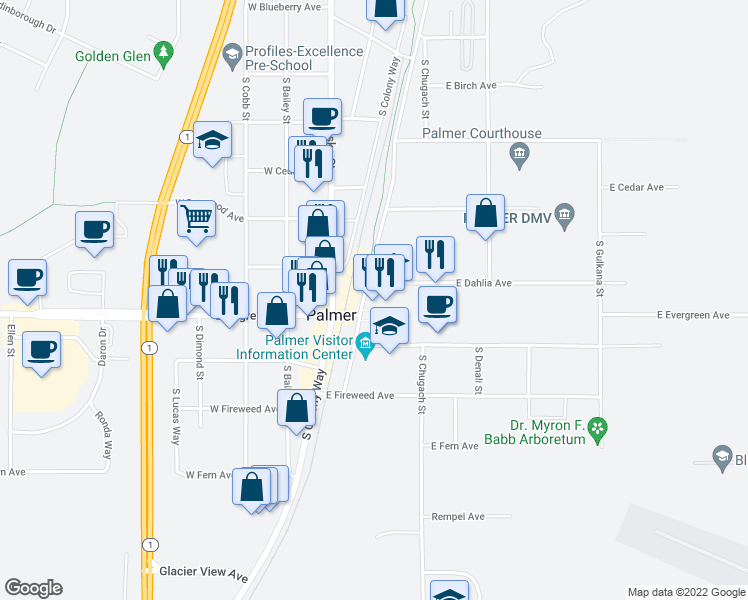 map of restaurants, bars, coffee shops, grocery stores, and more near in Palmer