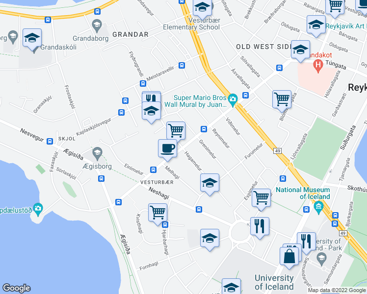 map of restaurants, bars, coffee shops, grocery stores, and more near Hagamelur in Reykjavik