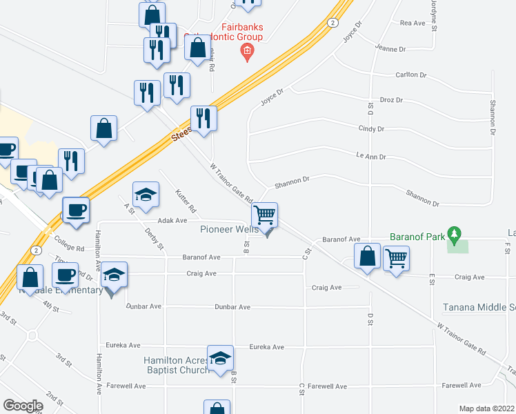 map of restaurants, bars, coffee shops, grocery stores, and more near W Trainor Gate Rd & Shannon Dr in Fairbanks