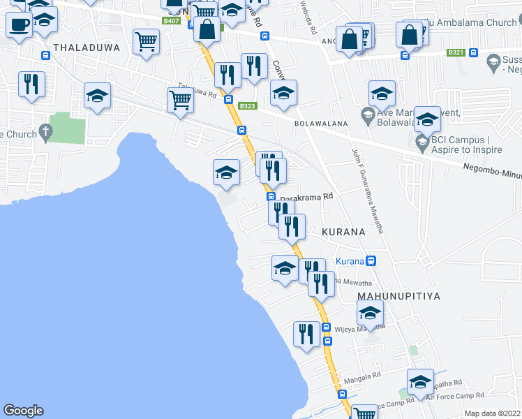 map of restaurants, bars, coffee shops, grocery stores, and more near St.Jude Vidyala Mawatha in Negombo