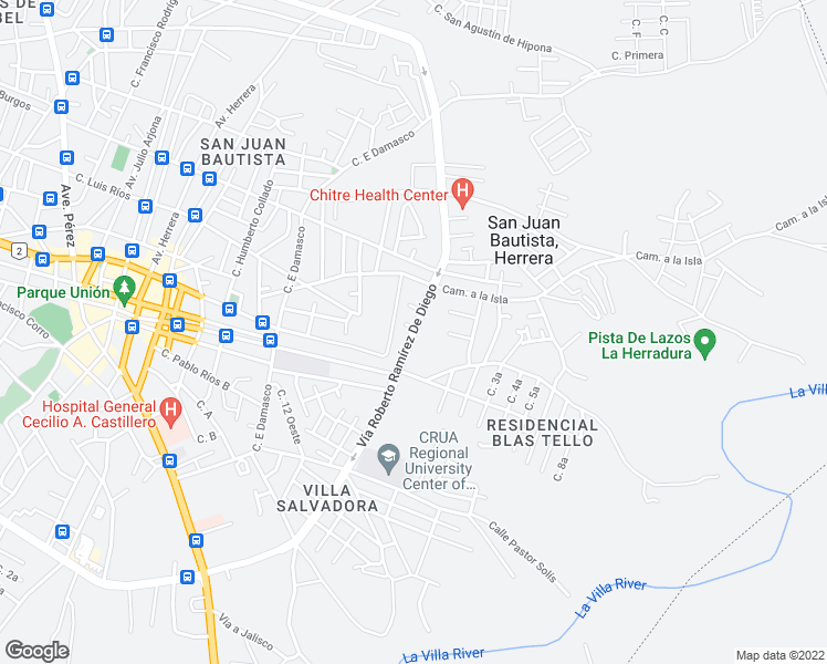 map of restaurants, bars, coffee shops, grocery stores, and more near Vía Roberto Ramírez De Diego in Chitre