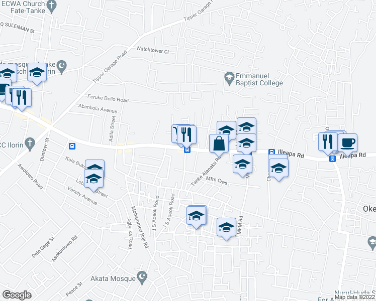map of restaurants, bars, coffee shops, grocery stores, and more near University Road in Ilorin