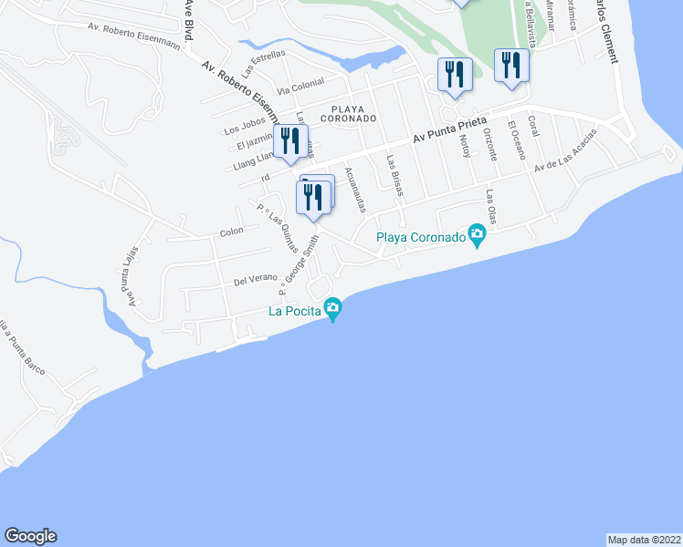 map of restaurants, bars, coffee shops, grocery stores, and more near in Las Lajas, Panamá Oeste