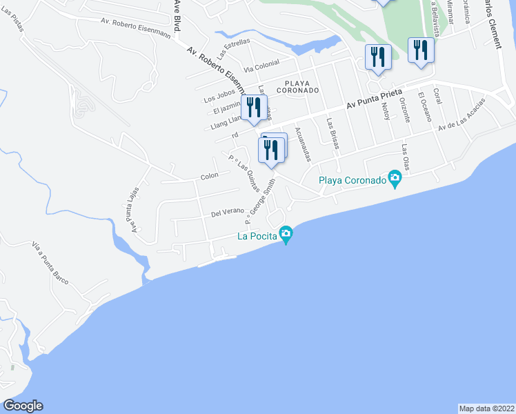 map of restaurants, bars, coffee shops, grocery stores, and more near Del Verano in Las Lajas