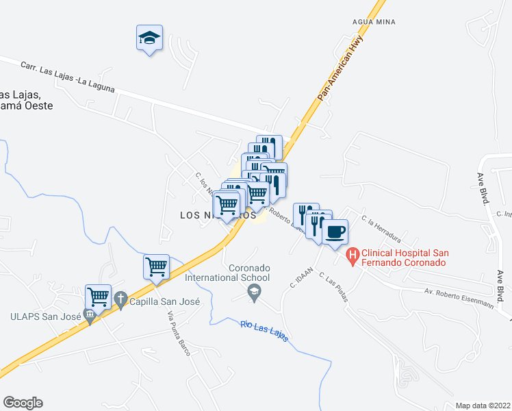 map of restaurants, bars, coffee shops, grocery stores, and more near in Las Lajas