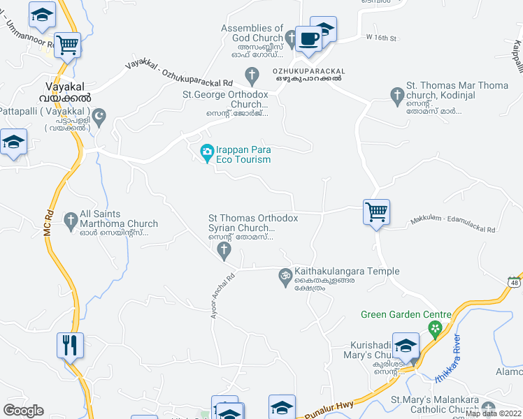 map of restaurants, bars, coffee shops, grocery stores, and more near Nellimudu - Appanmukku Road in Vayakal