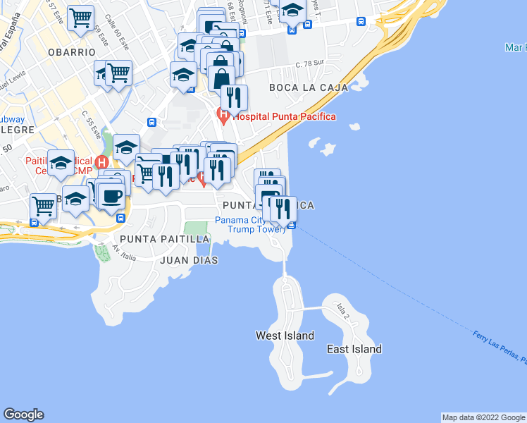 map of restaurants, bars, coffee shops, grocery stores, and more near in Panamá