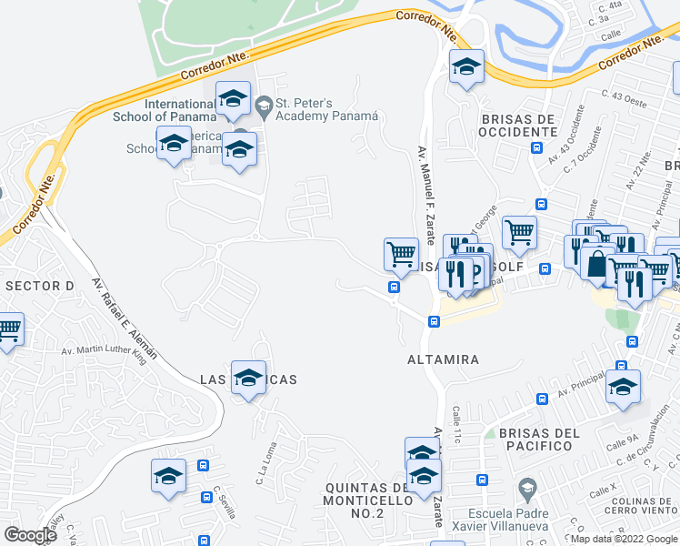 map of restaurants, bars, coffee shops, grocery stores, and more near Vía Club de Golf in San Miguelito