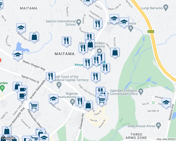 map of restaurants, bars, coffee shops, grocery stores, and more near in Abuja