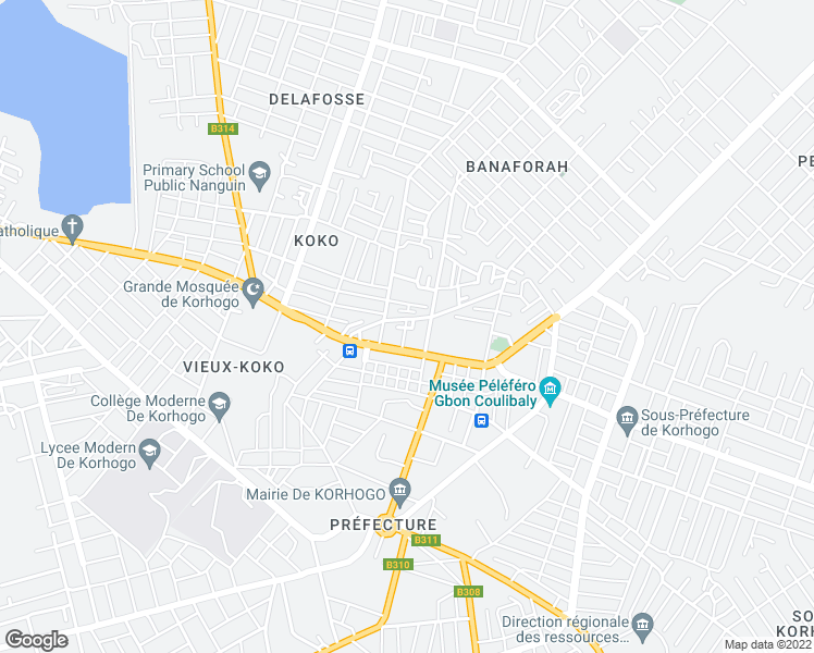 map of restaurants, bars, coffee shops, grocery stores, and more near Unnamed Road in Korhogo