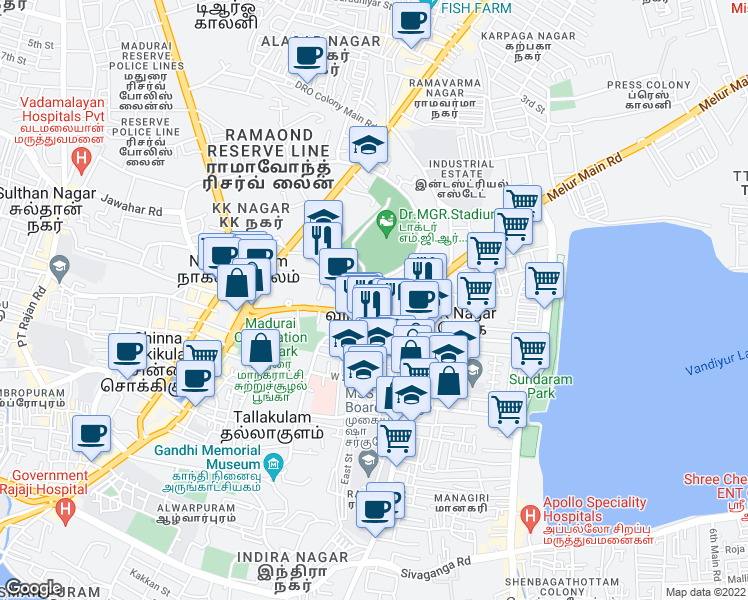 map of restaurants, bars, coffee shops, grocery stores, and more near Race Course Road in Madurai